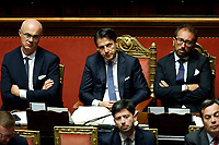 Federico D'Inca',  Giuseppe Conte and Alfonso Bonafede<br /> Rome September 10th 2019. Senate. Discussion and Trust vote at the new Government. <br /> Foto  Samantha Zucchi Insidefoto