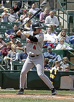 May 16, 2004:  Scott Sheldon of the Indianapolis Indians, Triple-A International League affiliate of the Milwaukee Brewers, during a game at Frontier Field in Rochester, NY.  Photo by:  Mike Janes/Four Seam Images