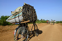 TANZANIA Region Mara, Musoma, village Borenga, Kuria tribe, men transport charcoal long distances to Musoma for income generation for the cost of deforestation / TANSANIA Region Mara, Musoma, Dorf Borenga, Kuria Ethnie, Maenner transportieren Holzkohle kilometerweit zum Verkauf um Einkommen zu erzielen, ganze Landstriche werden dadurch entwaldet
