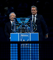 The presentation party, Hideo Takasaki CEO and COO of Sponsors Nitto with Mark Kermode Executive Chairman and President ATP with the Doubles Trophy.  Nitto ATP Finals Tennis Championships, O2 Arena London, England,19th November 2017.