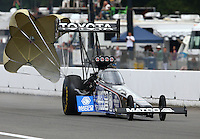 Aug. 3, 2013; Kent, WA, USA: NHRA top fuel dragster driver Antron Brown during qualifying for the Northwest Nationals at Pacific Raceways. Mandatory Credit: Mark J. Rebilas-USA TODAY Sports