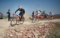 "Luca Paolini (ITA/Katusha) at the ""newly paved"" Carrefour de l'Arbre sector<br /> <br /> 2015 Paris-Roubaix recon"