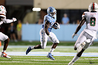 CHAPEL HILL, NC - SEPTEMBER 07: Javonte Williams #25 of the University of North Carolina runs the ball during a game between University of Miami and University of North Carolina at Kenan Memorial Stadium on September 07, 2019 in Chapel Hill, North Carolina.