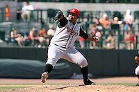 June 15th 2008:  Pitcher Edgar Estanga of the Lansing Lugnuts, Class-A affiliate of the Toronto Blue Jays, during a game at Dow Diamond in Midland, MI.  Photo by:  Mike Janes/Four Seam Images