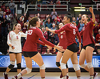 Stanford, CA - October 18, 2019: Selina Xu, Madeleine Gates, Michaela Keefe, Caitlin Keefe, Morgan Hentz at Maples Pavilion. The No. 2 Stanford Cardinal swept the Colorado Buffaloes 3-0.