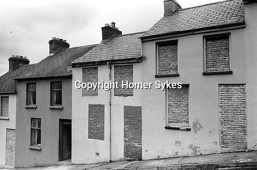 Derry Northern Ireland Londonderry. 1979. Bricked up houses,in the Waterside area. Protestant families streets.