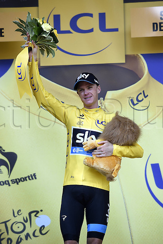 23.07.2015. Saint-Jean-De-Maurienne, France.  FROOME Christopher of Team Sky on the podium for  stage 18 of the 102nd edition of the Tour de France 2015 with start in Gap and finish in Saint-Jean-De-Maurienne, France (186 kms)