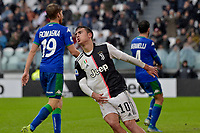 1st December 2019; Allianz Stadium, Turin, Italy; Serie A Football, Juventus versus Sassuolo; Paulo Dybala of Juventus reacts after missing a good scoring chance - Editorial Use