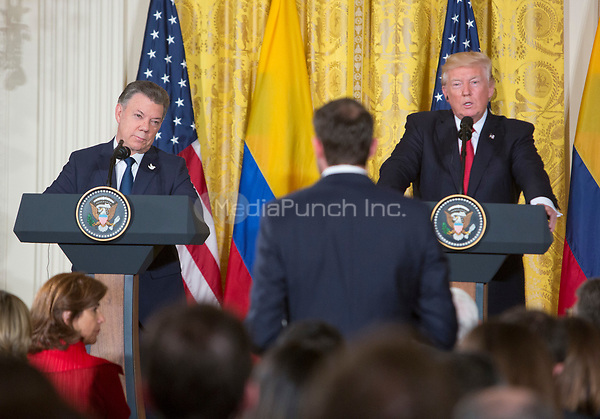United States President Donald Trump participates in a joint news conference with President Juan Manuel Santos of Colombia to the White House in Washington, DC, May 18, 2017. <br /> Credit: Chris Kleponis / CNP /MediaPunch