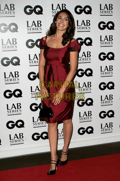 KELLY BROOK.Attending the 10th Anniversary GQ Men Of The Year Awards, Royal Opera House, Covent Garden, London, England..September 4th 2007.full length red dress black patent double strap Mary Jane shoes bag .CAP/AH.©Adam Houghton/Capital Pictures