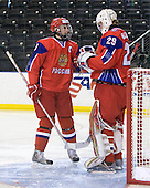 Sergey Chvanov (Russia - 9), Igor Bobkov (Russia - 29) - Russia defeated Finland 4-0 at the Urban Plains Center in Fargo, North Dakota, on Friday, April 17, 2009, in their semi-final match during the 2009 World Under 18 Championship.