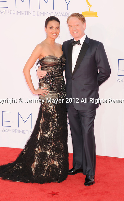 LOS ANGELES, CA - SEPTEMBER 23: Jared Harris and Allegra Riggio arrive at the 64th Primetime Emmy Awards at Nokia Theatre L.A. Live on September 23, 2012 in Los Angeles, California.