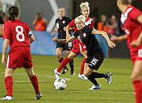 USWNT midfielder Megan Rapinoe in action. USWNT played played a friendly against Canada at JELD-WEN Field in Portland, Oregon on September 22, 2011.