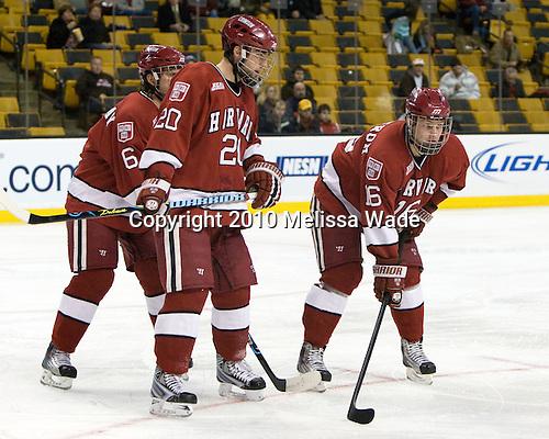Ryan Grimshaw (Harvard - 6), Louis Leblanc (Harvard - 20), Alex Fallstrom (Harvard - 16) - The Northeastern University Huskies defeated the Harvard University Crimson 4-1 (EN) on Monday, February 8, 2010, at the TD Garden in Boston, Massachusetts, in the 2010 Beanpot consolation game.