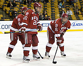 Ryan Grimshaw (Harvard - 6), Louis Leblanc (Harvard - 20), Alex Fallstrom (Harvard - 16) - The Northeastern University Huskies defeated the Harvard University Crimson 4-1 (EN) on Monday, February 8, 2010, at the TD Garden in Boston, Massachusetts, in the 2010 Beanpot consolation game.
