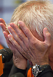 Coach Bert van Marwijk of the Netherlands reacts to a question by a reporter during an international news conference  in Johannesburg June 11, 2010.   REUTERS/Michael Kooren (SOUTH AFRICA) ...