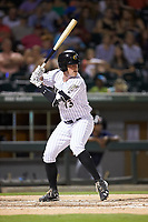 Casey Gillaspie (13) of the Charlotte Knights at bat against the Toledo Mud Hens at BB&T BallPark on June 22, 2018 in Charlotte, North Carolina. The Mud Hens defeated the Knights 4-0.  (Brian Westerholt/Four Seam Images)