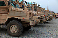 The line of vehicles from RC29 Mine detection unit and there vehicles at the jalalabad air base JAF
