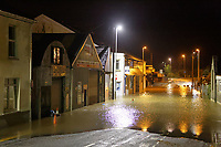 Pictured: The flooded closed off Old Station Road in Carmarthen, Wales, UK. Saturday 13 October 2018<br /> Re: River Towy has burst its banks and adjacent properties have flooded, caused by storm Callum, in Carmarthen, west Wales, UK.