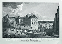 Palais Episcopal, or Bishop's Palace, seen from the hill leading from Upper Town to Lower Town, engraving by J Fougeron after a drawing by Richard Short, published in 1761 as a collection of Views of Quebec in the 18th century, by Thomas Jefferys in London, in the collection of the Musees du Quebec, Quebec City, Quebec, Canada. Picture by Manuel Cohen