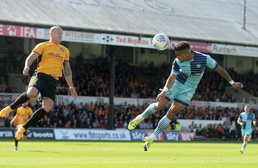 Wycombe Wanderers' Paris Cowan-Hall heads towards goal <br /> <br /> Photographer Ian Cook/CameraSport<br /> <br /> The EFL Sky Bet League Two - Newport County v Wycombe Wanderers - Saturday 9th September 2017 - Rodney Parade - Newport<br /> <br /> World Copyright &copy; 2017 CameraSport. All rights reserved. 43 Linden Ave. Countesthorpe. Leicester. England. LE8 5PG - Tel: +44 (0) 116 277 4147 - admin@camerasport.com - www.camerasport.com