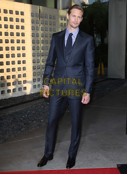 "Alexander Skarsgard.HBO's ""True Blood"" Season 4 Premiere  Held At The ArcLight Cinemas Cinerama Dome, Hollywood, California, USA..June 21st, 2011.full length grey gray suit blue suit tie navy checked check plaid .CAP/ADM/KB.©Kevan Brooks/AdMedia/Capital Pictures."