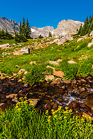 Hiking to Lake Isabelle in the Indian Peaks Wilderness Area, near Ward, Colorado USA.