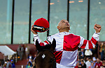 March 16, 2019: Omaha Beach #6, ridden by Mike Smith, outduels previously unbeaten Game Winner #5, ridden by Joel Rosario, to win the second division of the Rebel Stakes on Rebel Stakes Day at Oaklawn Park in Hot Springs, Arkansas. Carolyn Simancik/Eclipse Sportswire/CSM