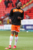 Blackpool's Joe Dodoo during the pre-match warm-up <br /> <br /> Photographer David Shipman/CameraSport<br /> <br /> The EFL Sky Bet League One - Charlton Athletic v Blackpool - Saturday 16th February 2019 - The Valley - London<br /> <br /> World Copyright © 2019 CameraSport. All rights reserved. 43 Linden Ave. Countesthorpe. Leicester. England. LE8 5PG - Tel: +44 (0) 116 277 4147 - admin@camerasport.com - www.camerasport.com