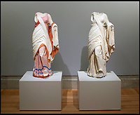 BNPS.co.uk (01202 558833)<br /> Pic: FineArtsMuseumSanFrancisco/BNPS<br /> <br /> Now and then: Greek goddess Thalia from Delos, second century BC.<br /> <br /> The traditional view of the classical world full of austere white marble statue's and buildings has been transformed by a new book - that reveals the ancient world was in fact full of vibrant colours.<br /> <br /> Painstaking new research has discovered that most of the worlds most iconic art works from ancient Greece and Rome were in fact plastered with vibrant colours.<br /> <br /> However over the centuries the bright colours faded due to exposure to the elements and Renaissance maestros like Leonardo da Vinci and Michelangelo working in the 15th century believed it was the norm for sculptures to be white.<br /> <br /> Now, scientists are able to use ultra-violet photography to examine ancient pigment's and recreate how sculptures dating back to the Classical age would have looked.