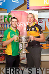 Killian Young and Kieran Donaghy pictured at the launch of the Kerry Senior Football Championship sponsored by Garveys Supervalu at Garveys Rock Street Tralee on Monday.