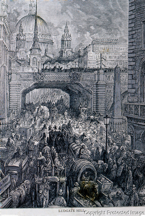 "London: Gustave Doré (1832-1883), French illustrator.....""Ludgate Hill - A block in the Street"" -- from LONDON--A PILGRIMAGE, 1872..  Reference only."