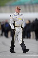 Oct. 3, 2009; Kansas City, KS, USA; NASCAR Nationwide Series driver Matt Carter during qualifying for the Kansas Lottery 300 at Kansas Speedway. Mandatory Credit: Mark J. Rebilas-