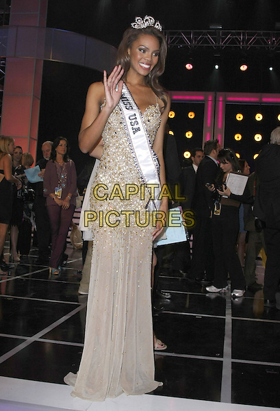 CRYSTIE STEWART, Miss USA 2008 The 57th Annual Miss USA Competition held at the Planet Hollywood Hotel and Casino, Las Vegas, Nevada, USA, .11 April 2008..full length gold beaded dress sash winner crown hand waving tiara .CAP/ADM/MJT.©MJT/Admedia/Capital Pictures