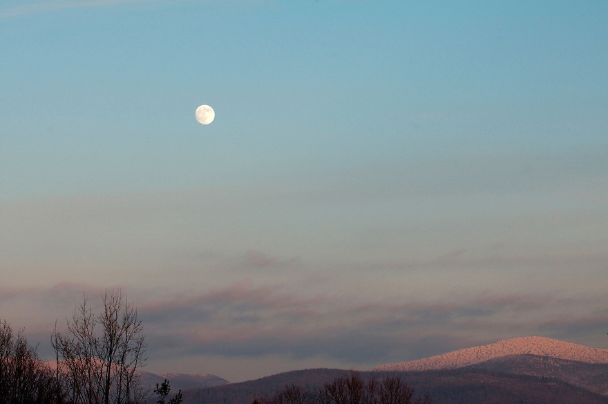 Full moon over the Green Mountains, Brandon, Vermont