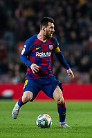 29th October 2019; Camp Nou, Barcelona, Catalonia, Spain; La Liga Football, Barcelona versus Real Valladolid; 1Lionel Messi looks for an outlet against Valladolid - Editorial Use