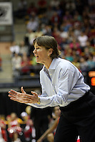 BERKELEY, CA - MARCH 30: Head coach Tara Vanderveer directing traffic during Stanford's 84-66 win against the Ohio State Buckeyes on March 28, 2009 at Haas Pavilion in Berkeley, California.