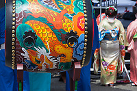 Japanese Taiko Drum, Dragon Fest 2015, Chinatown, Seattle, Washington State, WA, America, USA.