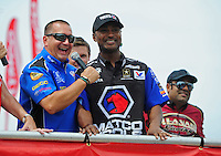 Jun. 29, 2012; Joliet, IL, USA: NHRA top fuel dragster drivers Brandon Bernstein (left) with Antron Brown during qualifying for the Route 66 Nationals at Route 66 Raceway. Mandatory Credit: Mark J. Rebilas-