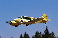 Twin engined Cessna T-50 Bobcat in flight during the 2017 Nevada County Airfest
