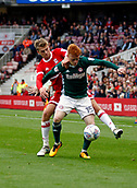30th September 2017, Riverside Stadium, Middlesbrough, England; EFL Championship football, Middlesbrough versus Brentford; Ryan Woods of Brentford holds off Patrick Bamford of Middlesbrough in the 2-2 draw