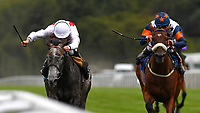 Winner of The Lester Brunt Wealth Management Handicap Past Master (white cap)  ridden by Ryan Moore and trained by Henry Candy during the Bathwick Tyres & EBF Race Day at Salisbury Racecourse on 6th September 2018