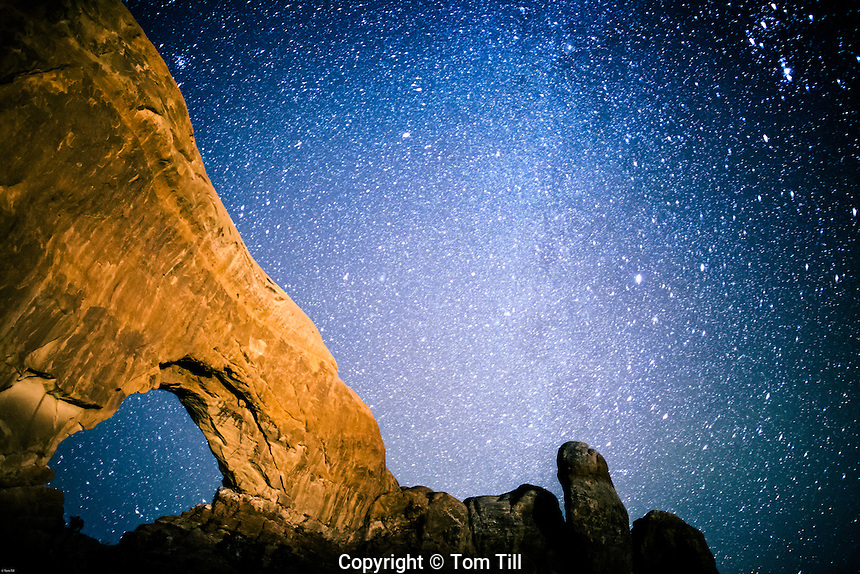 Milky Way at North Window, Arches National Park, Utah Windows Section. Lit by moonlight