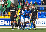 St Johnstone v Celtic....15.09.12      SPL  .Nigel Hasselbaink celebrates with Gregory Tade as Thomas Rogne and James Forrest trudge off.Picture by Graeme Hart..Copyright Perthshire Picture Agency.Tel: 01738 623350  Mobile: 07990 594431