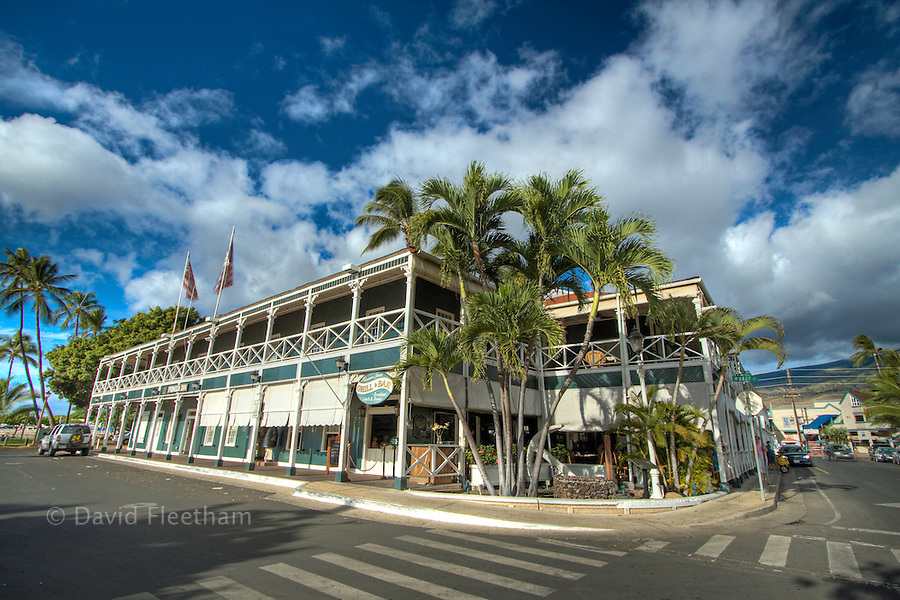 Built in 1901, the Pioneer Inn faces Lahaina Harbor and captures the ambiance of the old whaling days and the plantation era.  Lahaina, Maui, Hawaii.
