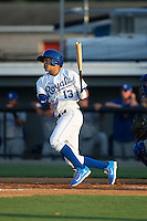Angelo Castellano (13) of the Burlington Royals follows through on his swing against the Bluefield Blue Jays at Burlington Athletic Park on June 29, 2015 in Burlington, North Carolina.  The Royals defeated the Blue Jays 4-1. (Brian Westerholt/Four Seam Images)