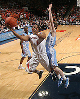 Virginia Cavaliers guard Jontel Evans (1) shoots the ball during the game against North Carolina in Charlottesville, Va. North Carolina defeated Virginia 54-51.
