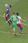 12.05.2018, Volksparkstadion, Hamburg, GER, 1.FBL. Hamburger SV vs Borussia Moenchengladbach,  im Bild   <br /> <br /> Yann Sommer (Moenchengladbach #1)<br /> Filip Kostic (Hamburger SV #17)<br /> Nico Elvedi (Moenchengladbach #30)<br /> <br /> Foto &copy; nordphoto / Kokenge