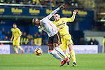 Eliaquim Hans Mangala (l) of Valencia CF fights for the ball with Nicola Sansone of Villarreal CF during their La Liga match between Villarreal CF and Valencia CF at the Estadio de la Cerámica on 21 January 2017 in Villarreal, Spain. Photo by Maria Jose Segovia Carmona / Power Sport Images