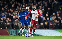 Matt Phillips of WBA & Antonio Rudiger of Chelsea during the Premier League match between Chelsea and West Bromwich Albion at Stamford Bridge, London, England on 12 February 2018. Photo by Andy Rowland.